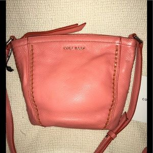 New peach Cole Haan Pebbled Leather Crossbody